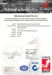 Momentumbuilt - Updated Quality Certificate